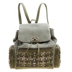 Chanel Khaki Women Canvas and Leather Cuba Pocket Backpack