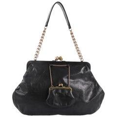 Chanel Kisslock Chain Frame Shoulder Bag Glazed Calfskin Large
