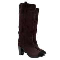 Chanel Knee-High Suede Heeled Cap-Toe Boots SIZE 38.5