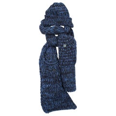 Chanel Knit Hat & Scarf - black/blue cashmere