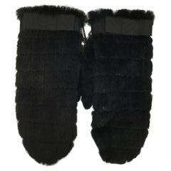 Chanel Knit Rabbit Fur Mittens with Chain