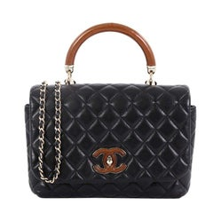 Chanel Knock on Wood Top Handle Bag Quilted Lambskin Mini