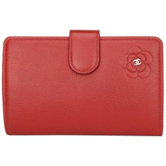CHANEL L-Zip Pocket Wallet Red Calfskin with Silver Hardware 2011