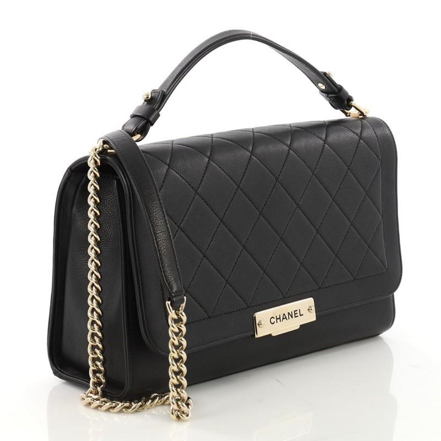 bc443a006c78 Chanel Label Click Flap Bag Quilted Calfskin Large For Sale at 1stdibs