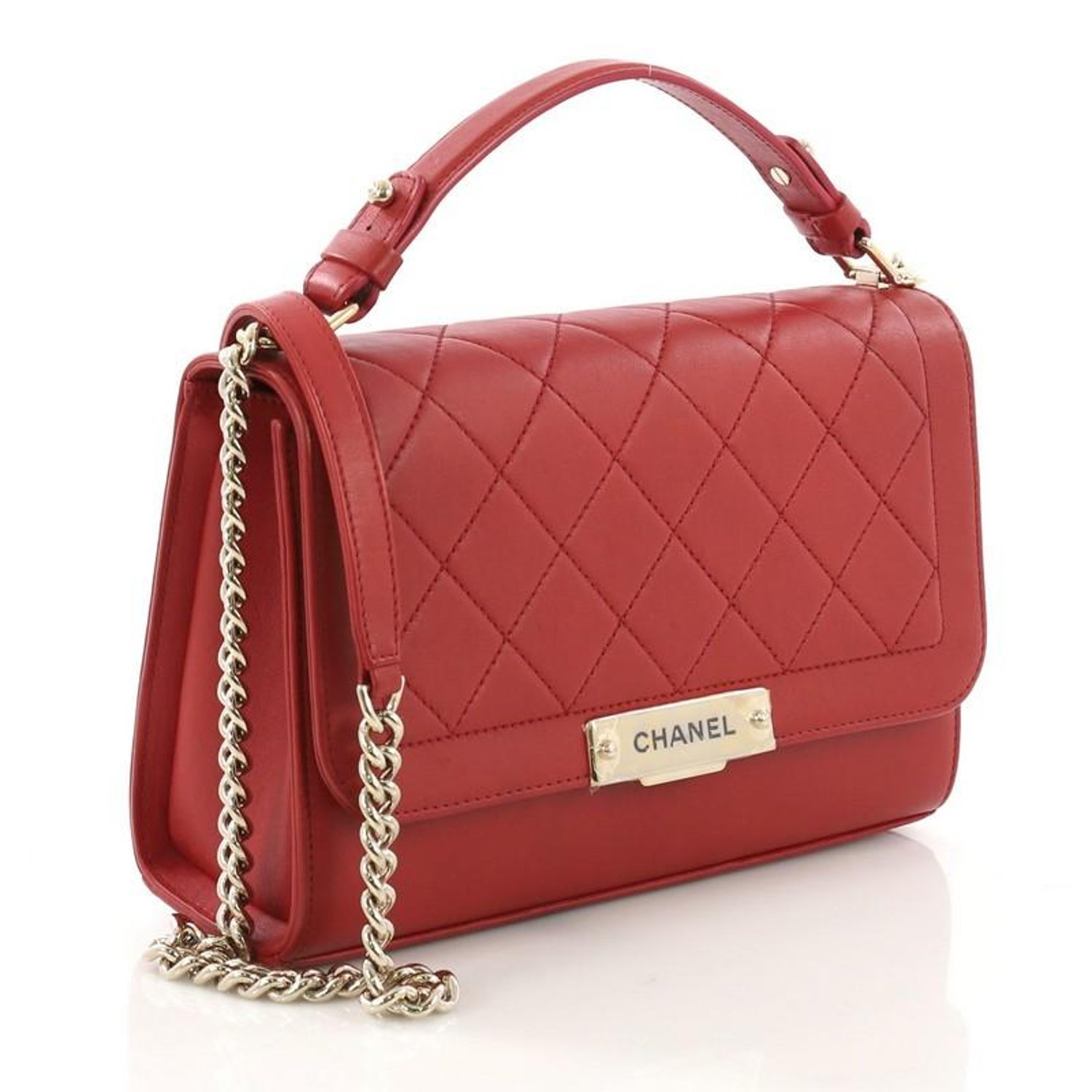 da9f7634799d Chanel Label Click Flap Bag Quilted Calfskin Medium For Sale at 1stdibs