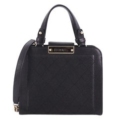 Chanel Label Click Shopping Tote Quilted Calfskin Small