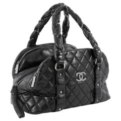Chanel Soft Lambskin Bubble Quilted CC Bag Top Handle Tote Bag