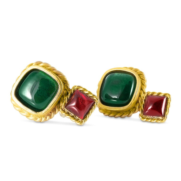 Chanel Lagerfeld Green and Red Gripoix Earrings In Good Condition For Sale In Palm Beach, FL