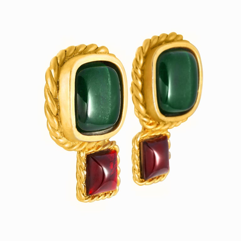 Women's Chanel Lagerfeld Green and Red Gripoix Earrings For Sale
