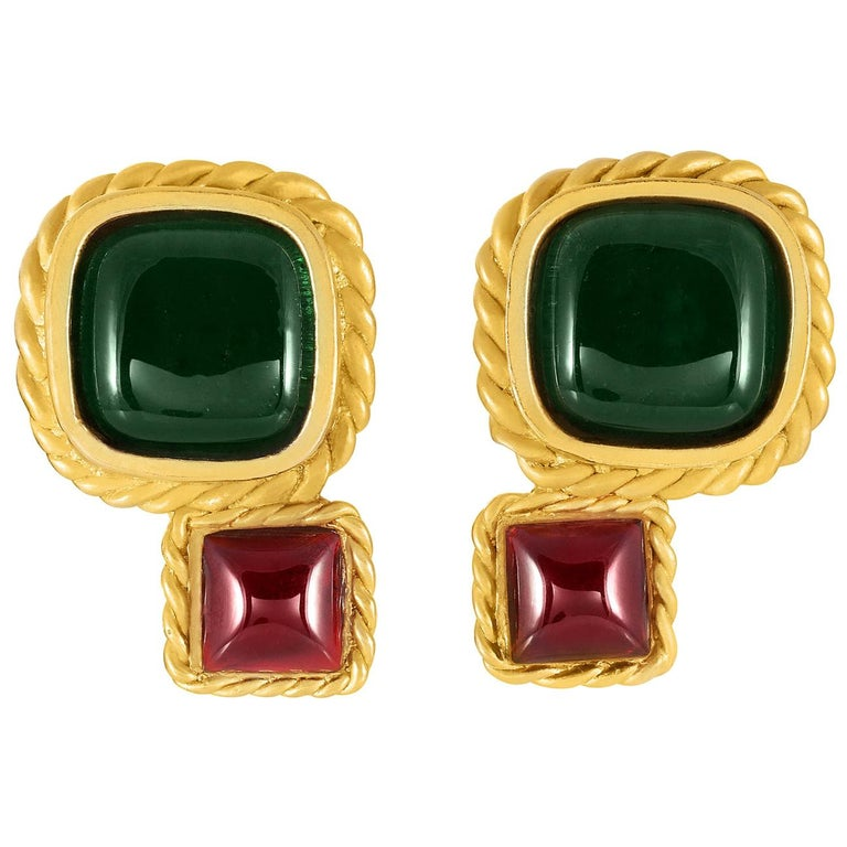 Chanel Lagerfeld Green and Red Gripoix Earrings For Sale