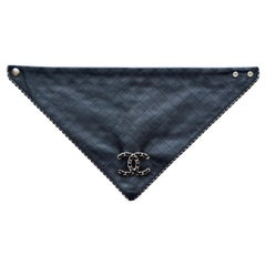 Chanel Lambskin  Black Quilted Leather Scarf  Karl L. Last Collection   NEW