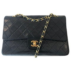 CHANEL Lambskin Double Flap Flap Classic Medium Bag 90's