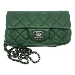 CHANEL Lambskin Extra Mini Flap Cross Body Bag Green Lambskin