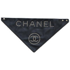 Chanel Lambskin Glass Pearls Black Leather Scarf  Karl L. Last Collection   NEW