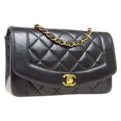 Chanel lambskin leather Iconic Small Diana Flap bag black with Gold hardware