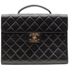 Chanel Lambskin Leather Vintage Classic Briefcase Bag