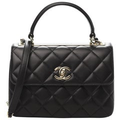 CHANEL Lambskin Quilted Small Trendy CC Dual Handle Flap Bag Black