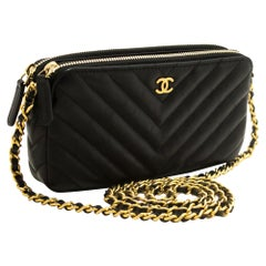 CHANEL Lambskin V-Stitch WOC Wallet On Chain Double Zip Chain Bag