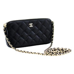 CHANEL Lambskin WOC Wallet On Chain Double Zip Chain Shoulder Bag