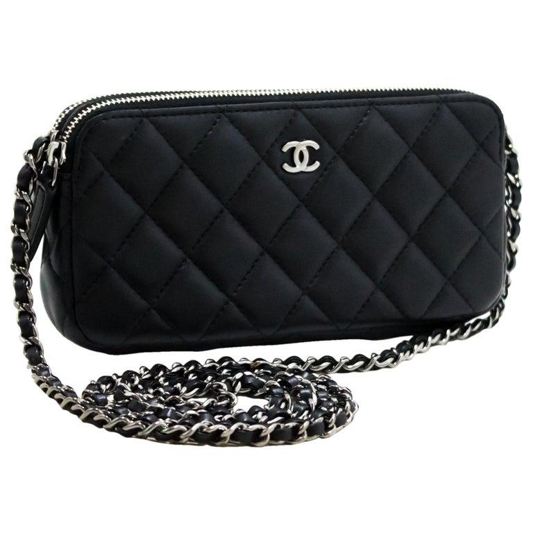 b6c15683f3 CHANEL Lambskin WOC Wallet On Chain Double Zip Chain Shoulder Bag For Sale