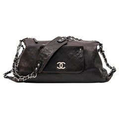 Chanel Large Bag in Brown Leather and Chain