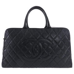 Chanel Large Black Caviar CC Zip Top Overnight Duffle Bowling Bag