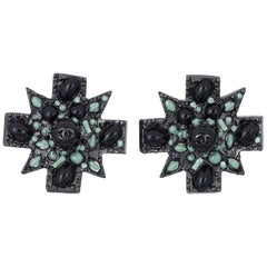 Chanel Large Black Cross Earrings c2011 Clip On Green Enamel CC Logo Gothic
