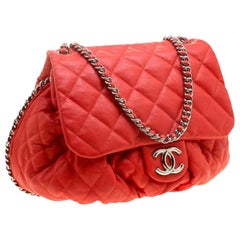 Chanel Large Chain Around Limited Edition Pristine Red Calfskin Leather Flap Bag