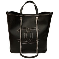 Chanel Large Coco Eyelets Black Shopping Tote