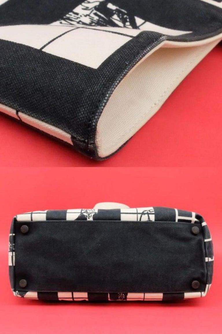 2f5bbf3e3056 Chanel Large Coco Window Tote 224878 Black X White Canvas Shoulder Bag For  Sale 3