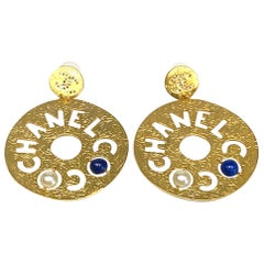 Chanel Large Cut Out Disk Pendant Earrings, Autumn 2019 Collection