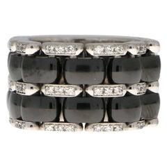 Chanel Large Diamond and Ceramic Flexible Ultra Ring Set in 18 Karat White Gold