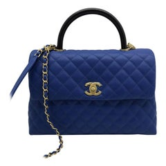 Chanel Large Flap Bag With Top Handle - Blue Caviar leather
