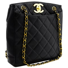 CHANEL Large Gold CC Caviar Chain Shoulder Bag Leather Black Purse