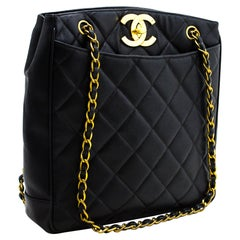 CHANEL Large Gold CC Caviar Chain Shoulder Bag Leather Black Purse
