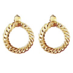 Chanel Large Gold CC Motif Hoop Earrings Clip Style 1996 with Box