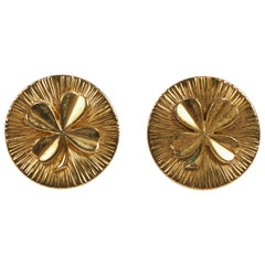 Chanel Large Gold Clover Clip Earrings