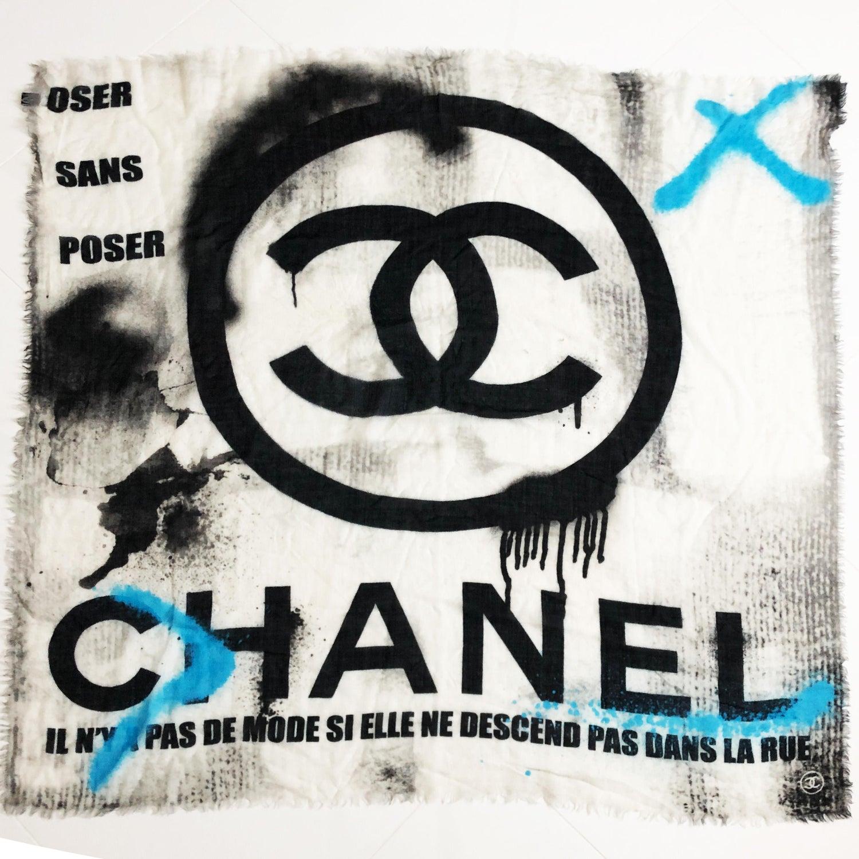 Osez L Art De La Table chanel large graffiti scarf shawl cashmere 51in cc logo with box