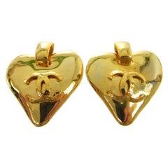 Chanel Large Heart Gold Doorknocker Charm Dangle Evening Hoop Earrings in Box
