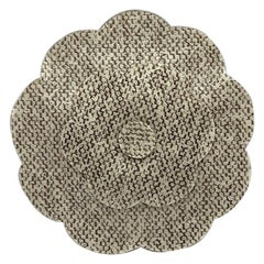 Chanel Large Laminated Boucle Tweed Fabric Camelia Brooch, 1990s