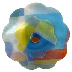 Chanel Large Laminated Pastel Fabric Camelia Brooch, 1990s