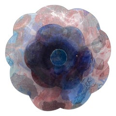 Chanel Large Laminated Purple & Blue Fabric Camelia Brooch, 1990s