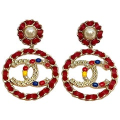 Chanel Large Leather Woven CC Logo Earrings, 2018 Collection