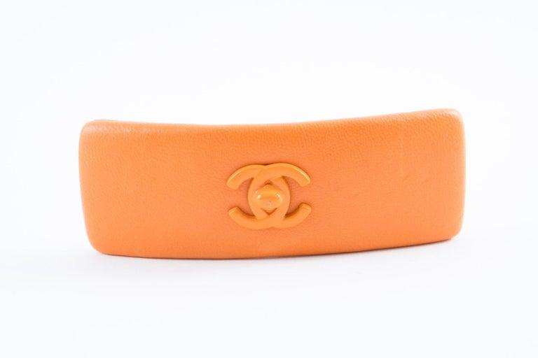 Chanel Large Orange Lamb Hair Pin For Sale 1