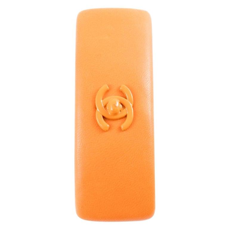 Chanel Large Orange Lamb Hair Pin For Sale