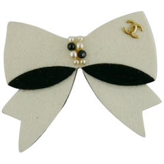 Chanel Large Pearl Embellished Felt CC Bow Brooch