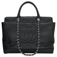 CHANEL Large Shopping Tote Bag Black Caviar with Silver Hardware 2011