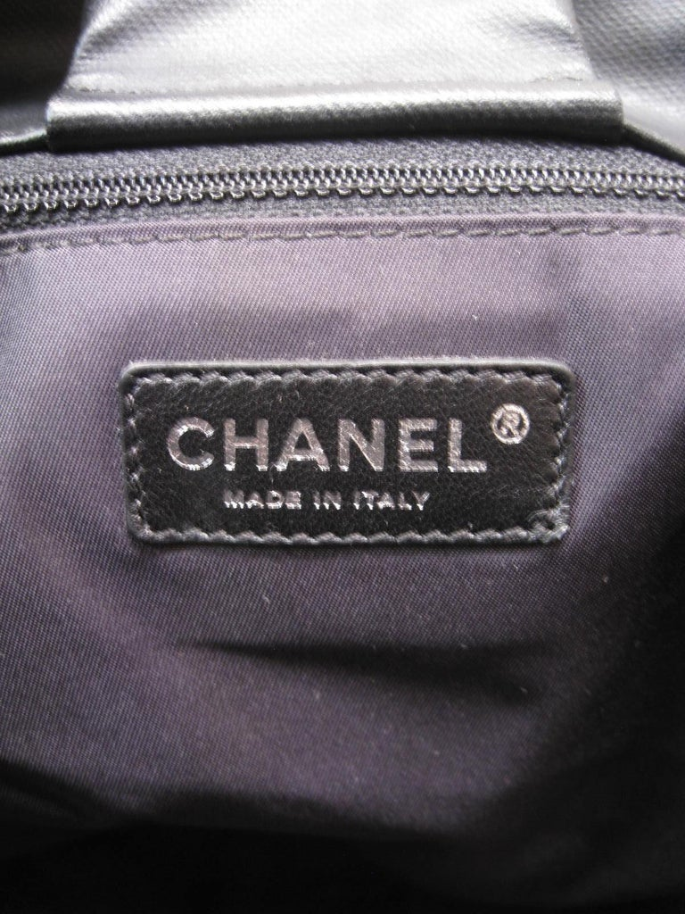 Chanel Large Structured Black Hobo Flap Bag Purse For Sale 7