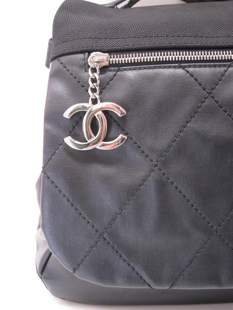 Chanel Large Structured Black Hobo Flap Bag Purse For Sale 8