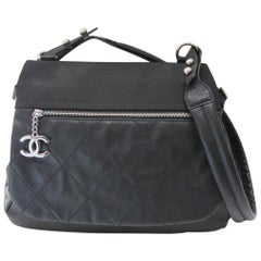 Chanel Large Structured Black Hobo Flap Bag Purse